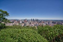 Cityscape of Montreal Canada. City scape of Montreal Canada from the top of Mont Royal. Wide angle view of the urbanscape on a clear bright day blue sky royalty free stock photo