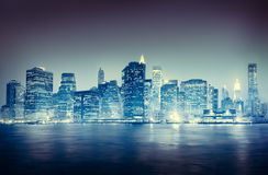 City Scape New York Buildings Travel Concept Royalty Free Stock Photos