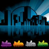 City scape Night. Cityscape in sunset period. The file includes 4 color variations Stock Illustration