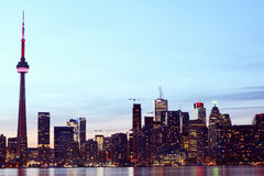 City scape at night of Toronto, Canada Stock Photo