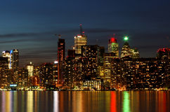 City scape at night of Toronto, Canada. Water reflection Royalty Free Stock Photos