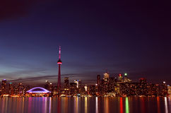 City scape at night of Toronto, Canada. Water reflection Stock Image