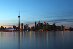 City scape at night of Toronto, Canada. At night water reflection sunset Royalty Free Stock Images