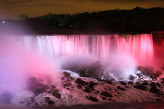 City scape at night of Toronto, Canada. At night water reflection waterfall coloured Stock Photos