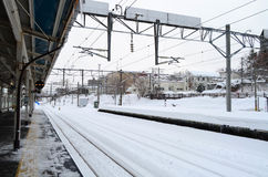 City Scape Of Otaru Train Station In Winter, Japan Royalty Free Stock Images