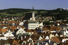 City scape overlooking Czeske Krumlov, CZ Royalty Free Stock Images