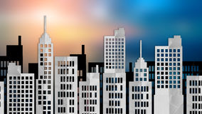 City scape paper cut style with blur background. City scape paper cut flat style with blur background Royalty Free Stock Image