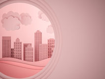 City scape paper cutout style. 3d render Royalty Free Stock Images