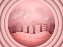 City scape paper cutout style. 3d render Royalty Free Stock Photos