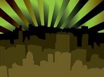 City scape shady. A shady city scape with radiating spot lights shining in the sky Stock Images