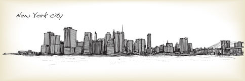 City scape sketch drawing in New York city. Illustration Stock Photo