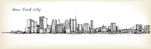 City scape sketch drawing in New York city, vector illustration. City scape sketch drawing in New York city vector illustration Royalty Free Stock Photo