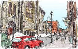 City scape sketch of town street in Quebec Canada with snow. And peoples walking on walkway, free hand draw illustration vector Royalty Free Stock Photo