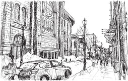 City scape sketch of town street in Quebec Canada with snow. And peoples walking on walkway, free hand draw illustration vector Royalty Free Stock Photos