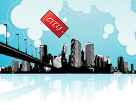 City scape with sky and clouds. At the background and badge with place for your own text Stock Photos