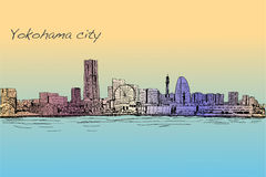 City scape skyline of Yokohama in Japan free hand drawing, vecto. City scape skyline of Yokohama in Japan free hand drawing,  and illustration Royalty Free Stock Photos