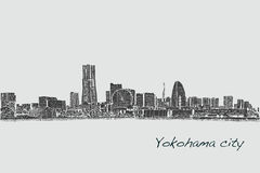 City scape skyline of Yokohama in Japan free hand drawing, vecto. R and illustration Stock Image