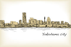 City scape skyline of Yokohama in Japan free hand drawing, vecto. R and illustration Stock Photos