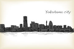 City scape skyline of Yokohama in Japan free hand drawing, vecto. R and illustration Royalty Free Stock Photography