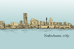 City scape skyline of Yokohama in Japan free hand drawing, vecto. R and illustration Royalty Free Stock Images