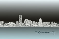 City scape skyline of Yokohama in Japan free hand drawing, vecto. R and illustration Stock Photo