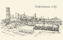 City scape skyline of Yokohama in Japan free hand drawing,. Vector Royalty Free Stock Photography