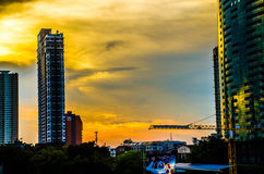 City scape. Sunrise in main city thailand stock photography