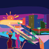City scape. On the sunset with two silhouettes of cats cartoon like Stock Image