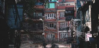 City Scape of Thamel, Building Covered by Chaos Wire Cable. Editorial Stock Image
