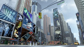 City scape at Time Square New York Manhattan. 3D rendering. 3D rendering of a city scape on Time Square New York Manhattan. The images on the screens on the royalty free illustration