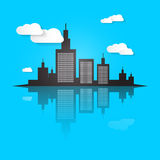 City Scape Vector Illustration. On Blue Background Stock Images