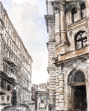 City scape. Watercolor illustration of city scape Stock Photos