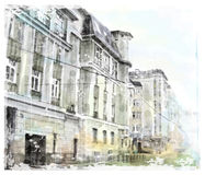 City scape. Watercolor illustration of city scape Royalty Free Stock Image