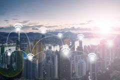 City Scape and Wifi Network Connection. Concept Stock Image