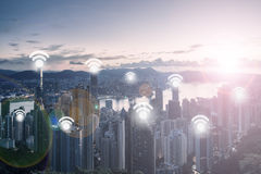 City Scape and Wifi Network Connection. Concept Stock Images