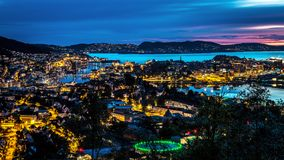 City Scene with Aerial View of Bergen Center at Night stock photography