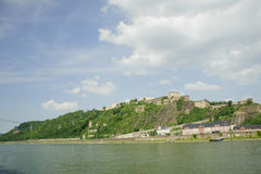 City scene with beautiful rhine river scenic . Royalty Free Stock Images