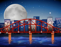 City scene with bridge over the river Royalty Free Stock Image