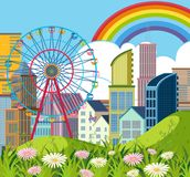 City scene with buildings and ferriswheel. Illustration Royalty Free Stock Photography