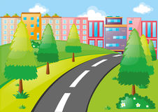 City scene with buildings and road. Illustration Stock Photography