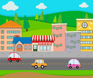 City scene with cars on the road Royalty Free Stock Photo