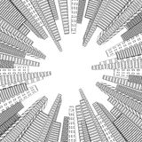 City scene. Cityscape. Silhouette of skyscrapers on a white background. Monochrome buildings. Round design. Stock Photography