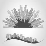 City scene. Cityscape. Silhouette of skyscrapers on a white background. Monochrome buildings. Round design. Stock Photo