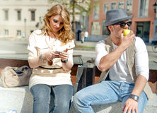 City Scene with Couple Royalty Free Stock Images