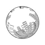 City scene in the globe. Cityscape. Silhouette of skyscrapers. Monochrome buildings. Round design. Stock Images