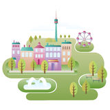 City Scene. Green area of city with colorful houses, trees, Ferris wheel, TV tower, fountain and benches in park. Illustration of urban landscape. (Vector file royalty free illustration