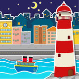 City scene with lighthouse and river at night Stock Image