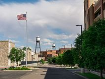Water Tower in Pueblo, Colorado. A city scene near the Riverwalk in Pueblo, Colorado showing water towers and a blue sky royalty free stock photos