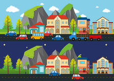 City scene at night and day time. Illustration Royalty Free Stock Photo