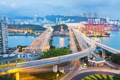 City scene night traffic in Hong Kong Stock Photos